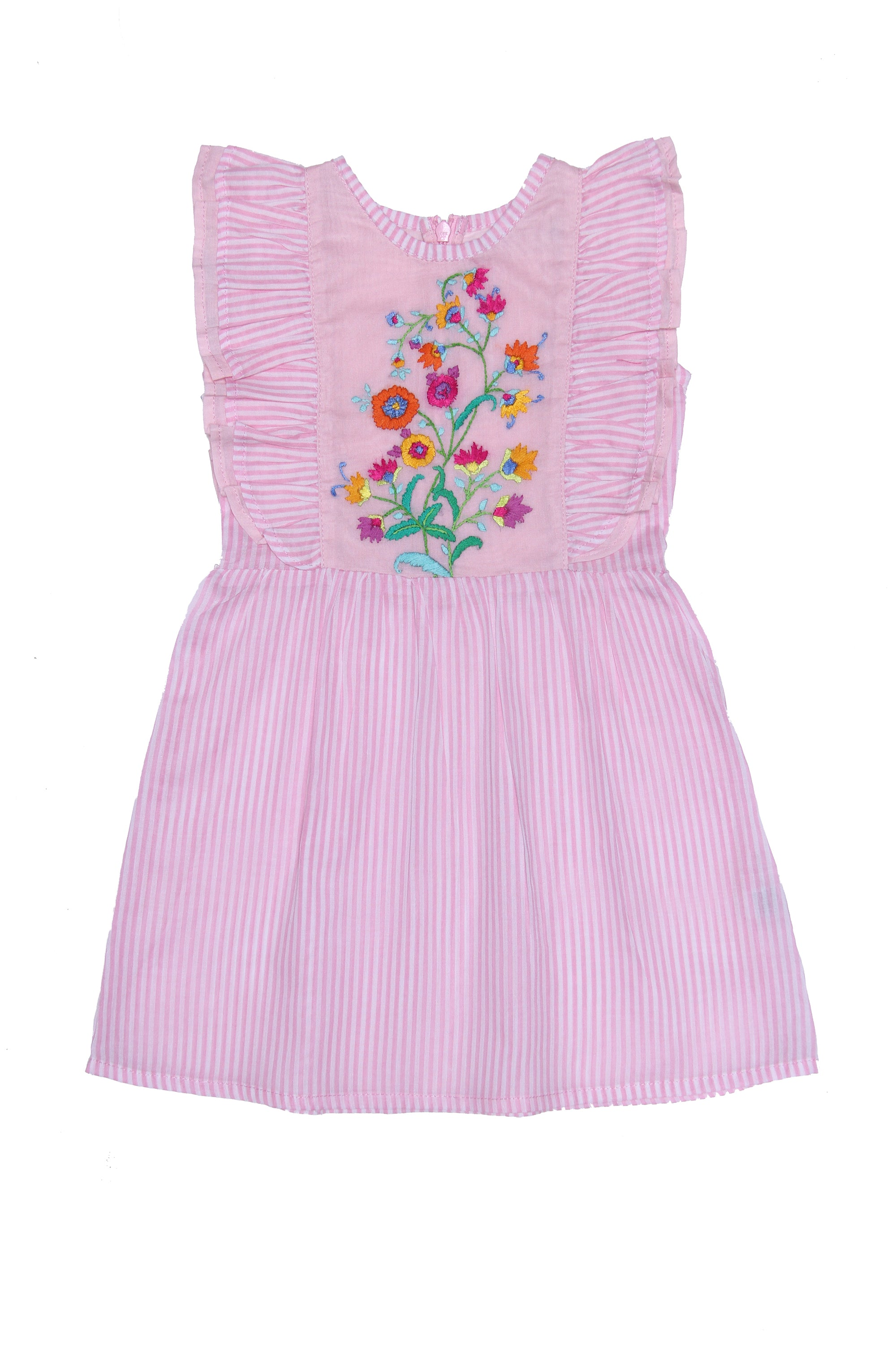 Viola Dress Stripped Pink with Hand Stitch (Baby)