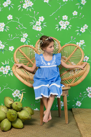 iris dress periwinkle with hand stitch