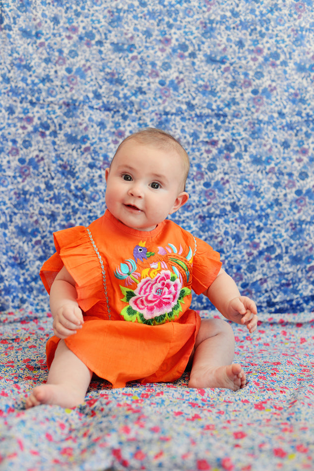 Delphine Sunsuit Marigold with Embroidery