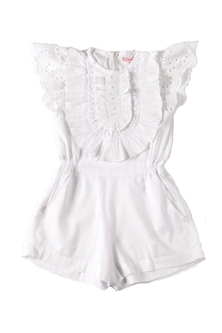 Peony Playsuit White with Broiderie