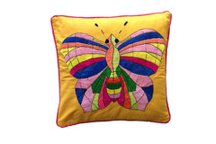 Cushion Cover  45 x 45 - Saffron with Butterfly Handstitch