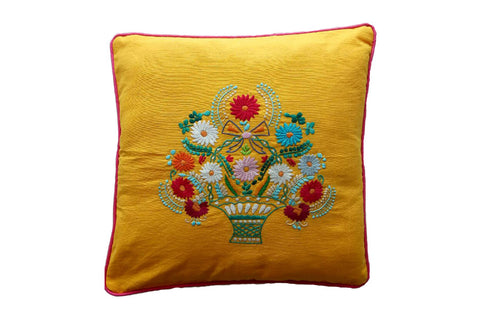 Cushion Cover  45 x 45 - Saffron with Flower Hand Stitch