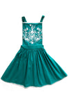 Pomme pinafore teal with embroidery and crochet