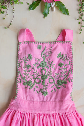Pomme Pinafore Pink with Embroidery and Crochet