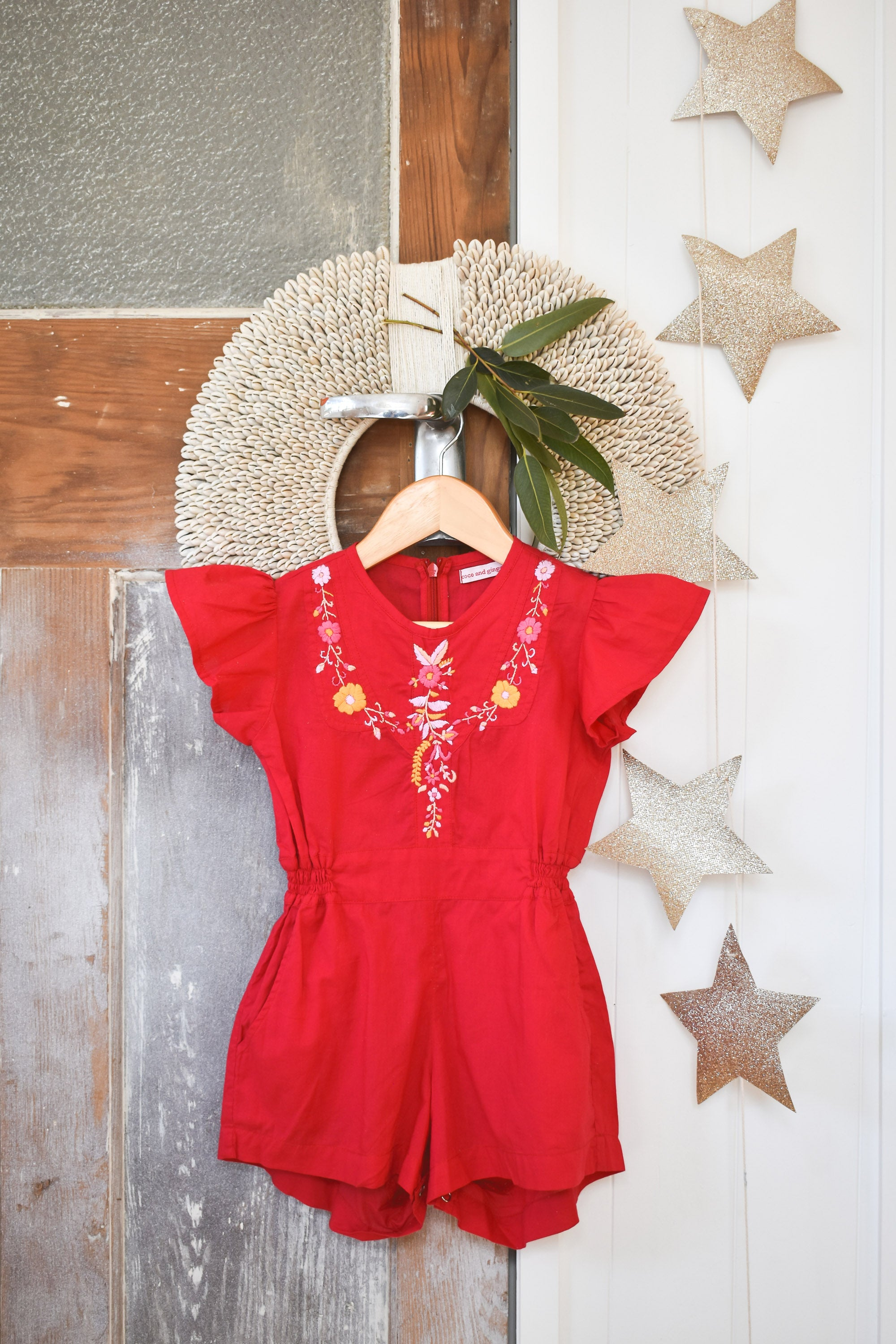 Isabel Playsuit Ruby with Hand Embroidery