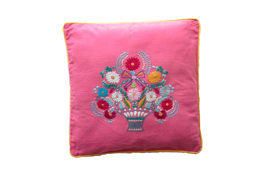 Cushion Cover  45 x 45 - Watermelon with Flower Hand Stitch