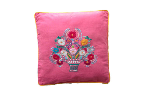 Cushion Cover  45 x 45 - Pink with Magnolia Hand stitch