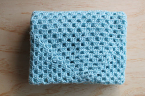 Blue crotchet baby blanket