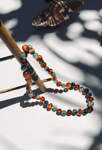 Green Jasper + Baltic Amber Baby Necklace