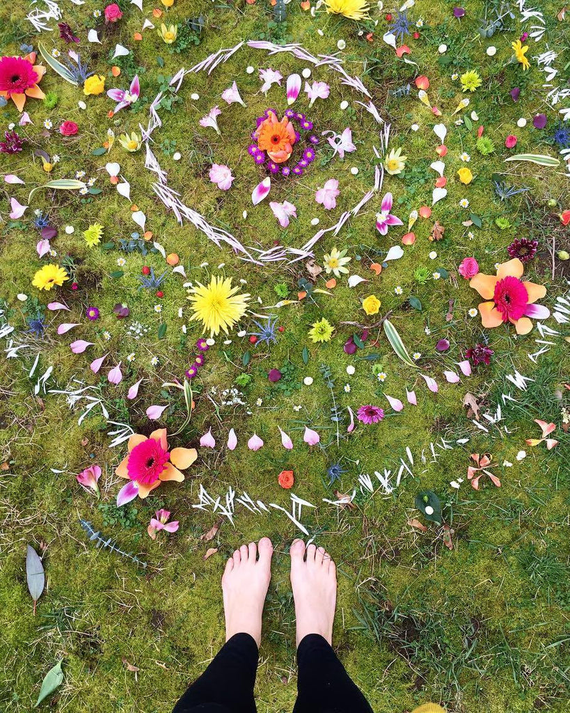 Complete flower mandala from above