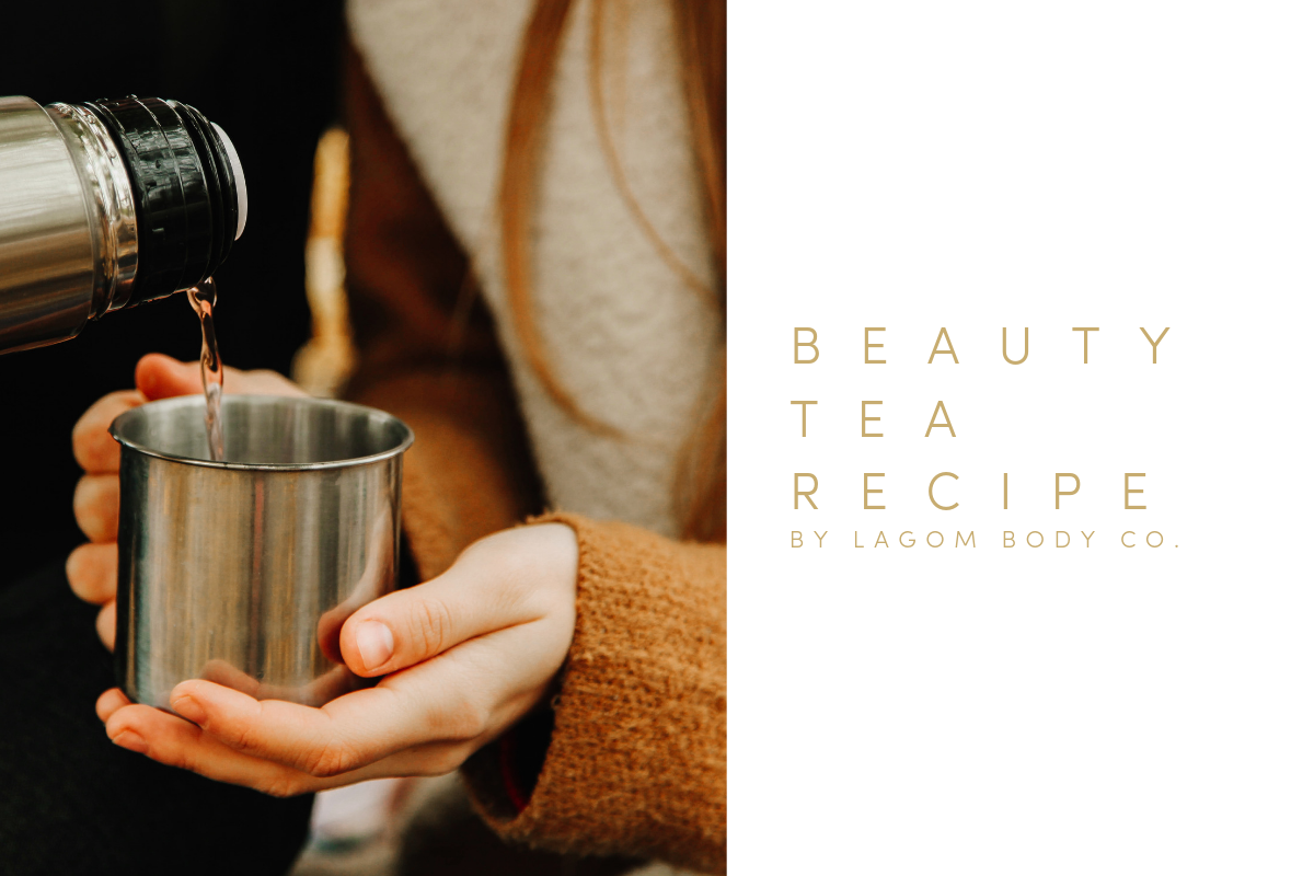 BEAUTY TEA RECIPE PROMO—WOMAN POURING HOT TEA INTO STAINLESS STEEL CUP