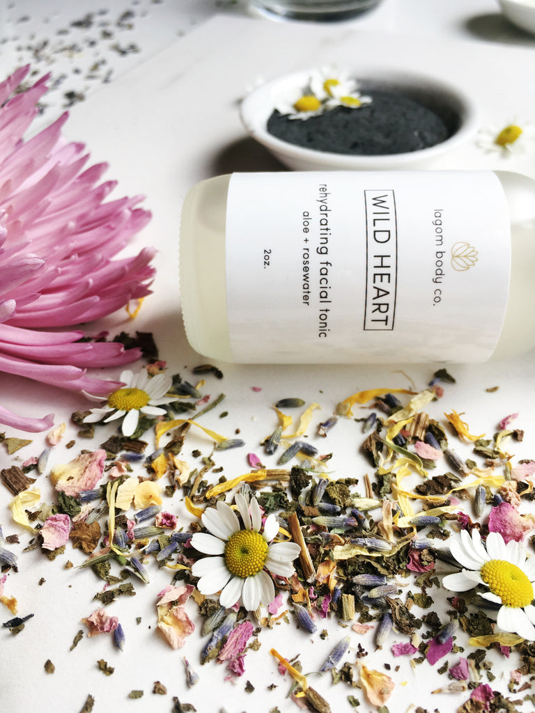 Lagom Body Co. facial tonic, dried petals, and herbal mask