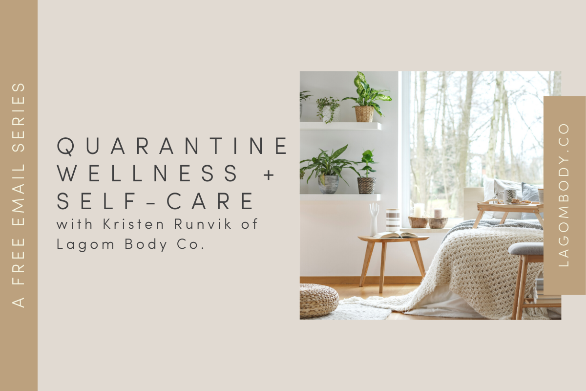 Quarantine Wellness and Self-Care Email Series Promo Image with image of cozy bedroom with many house plants and a beautiful view of a forest