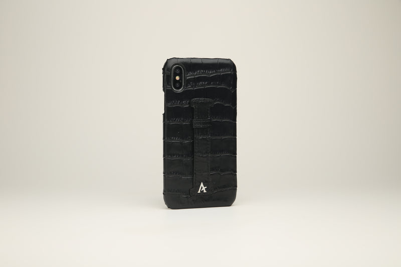 Croc Leather Finger-Holder iPhone X Cases