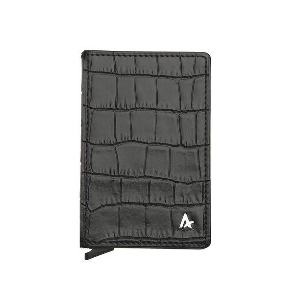 Leather Pop-out Card Holder (Croc) - Affluent