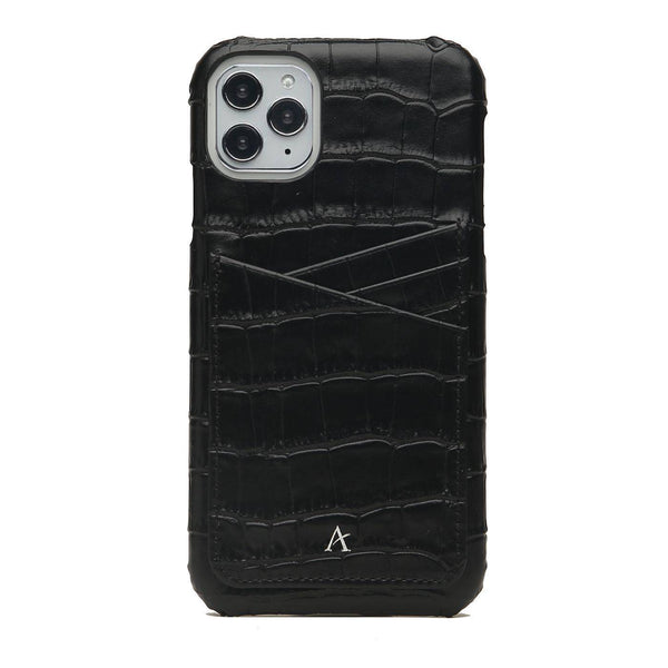 Leather Card Slot iPhone 11 Pro Case (Croc) - Affluent