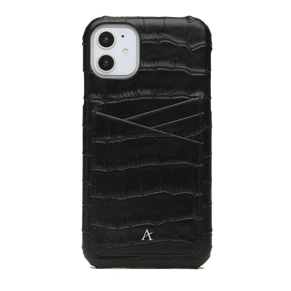 Leather Card Slot iPhone 11 Case (Croc)