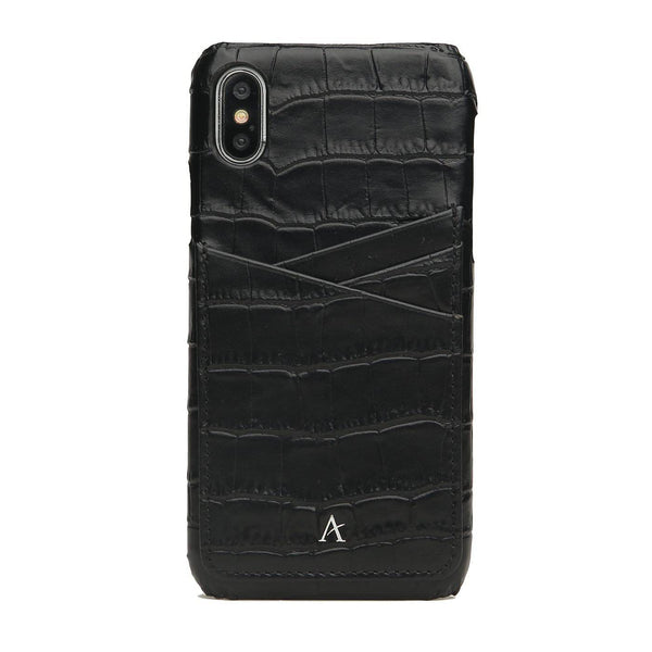 Leather Card Slot iPhone X/Xs Case (Croc) - Affluent