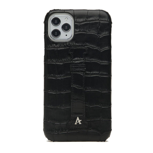 Leather Finger Loop iPhone 11 Pro Case (Croc) - Affluent