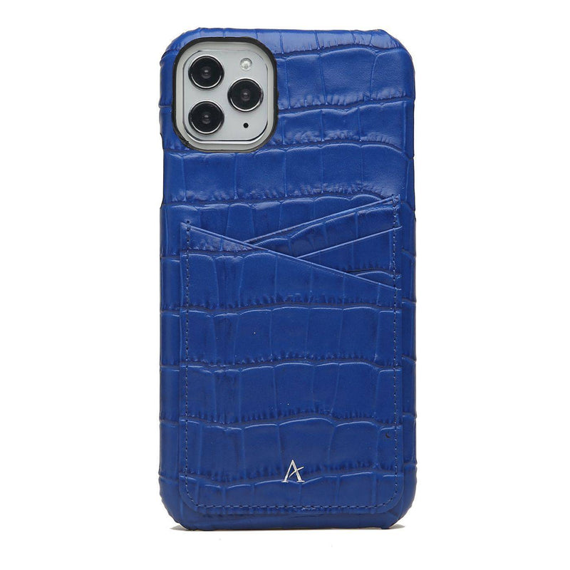 Leather Card Slot iPhone 11 Pro Max Case (Croc) - Affluent