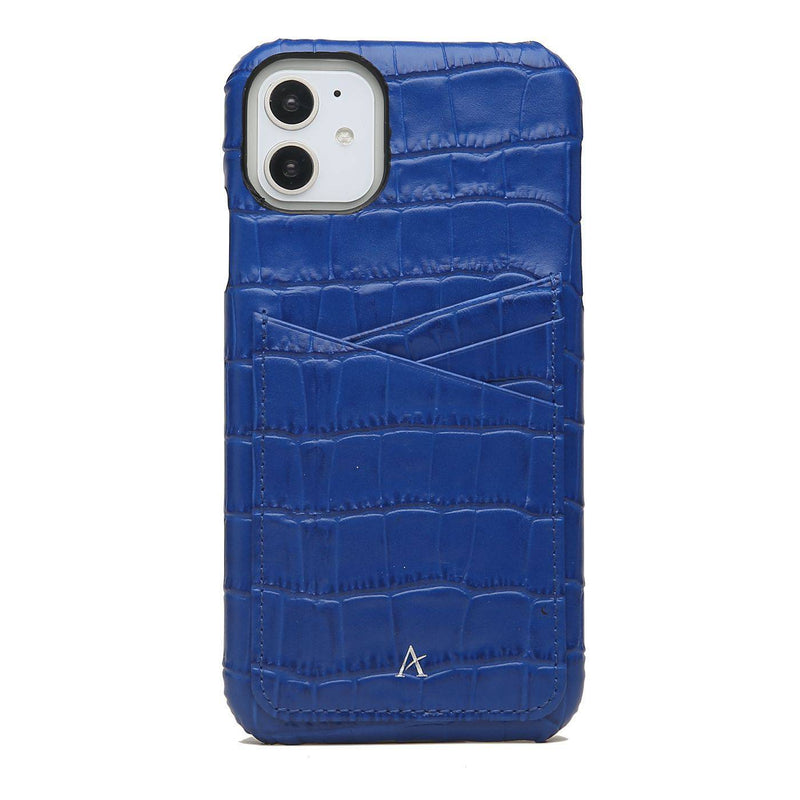 Leather Card Slot iPhone 11 Case (Croc) - Affluent