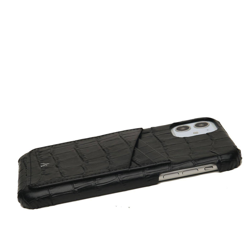 Leather Card Slot iPhone 11 Pro Max Case (Croc)