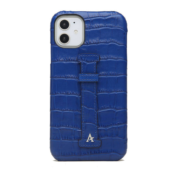 Leather Finger Loop iPhone 11 Case (Croc) - Affluent