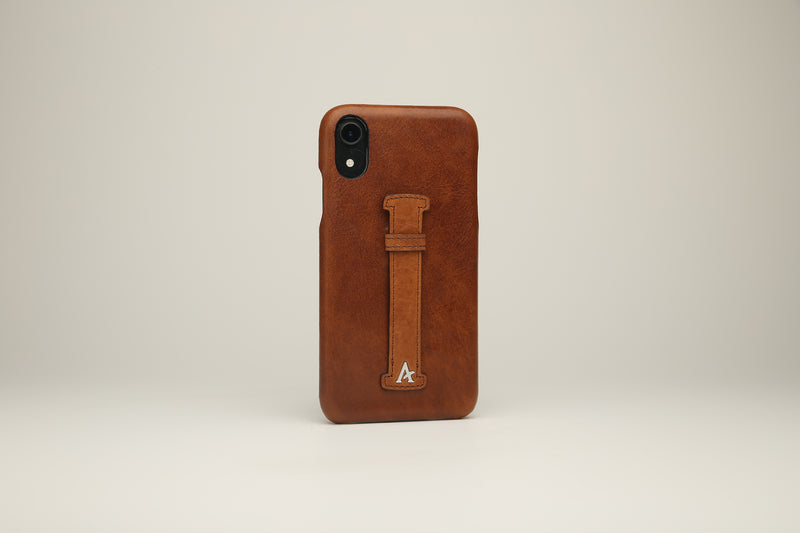 VEGETABLE TANNED Leather Finger-Holder iPhone XR Cases