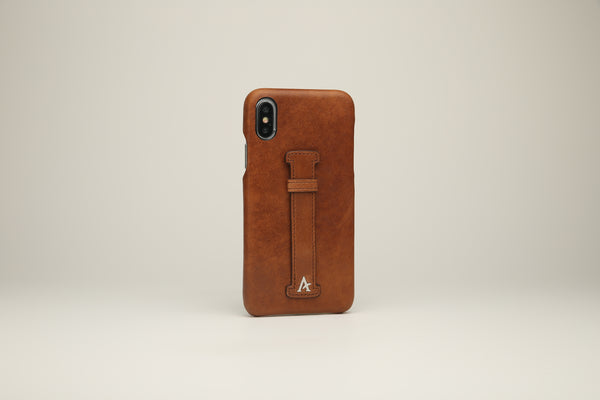 VEGETABLE TANNED Leather Finger-Holder iPhone Xs MAX Cases