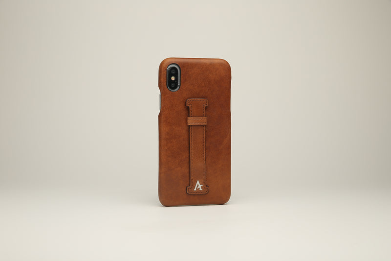 Leather Finger Loop iPhone Xs Max Case (Natural) - Affluent