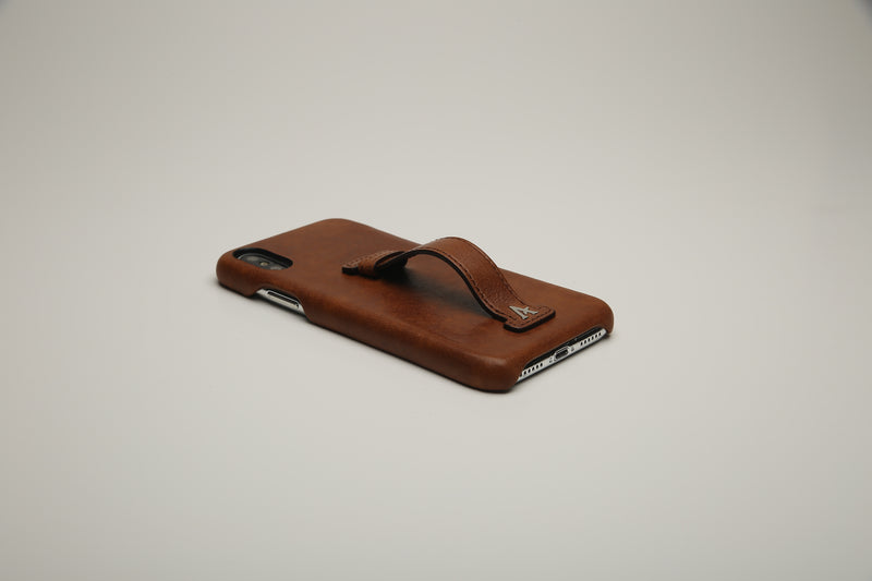 VEGETABLE TANNED Leather Finger-Holder iPhone X Cases
