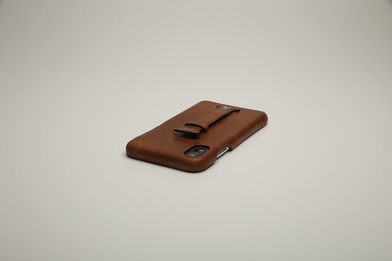 VEGETABLE TANNED Leather Finger-Holder iPhone XS/X Cases