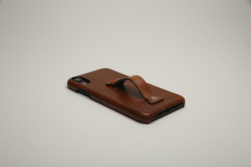 Leather Finger Loop iPhone 11 XR Case (Natural) - Affluent
