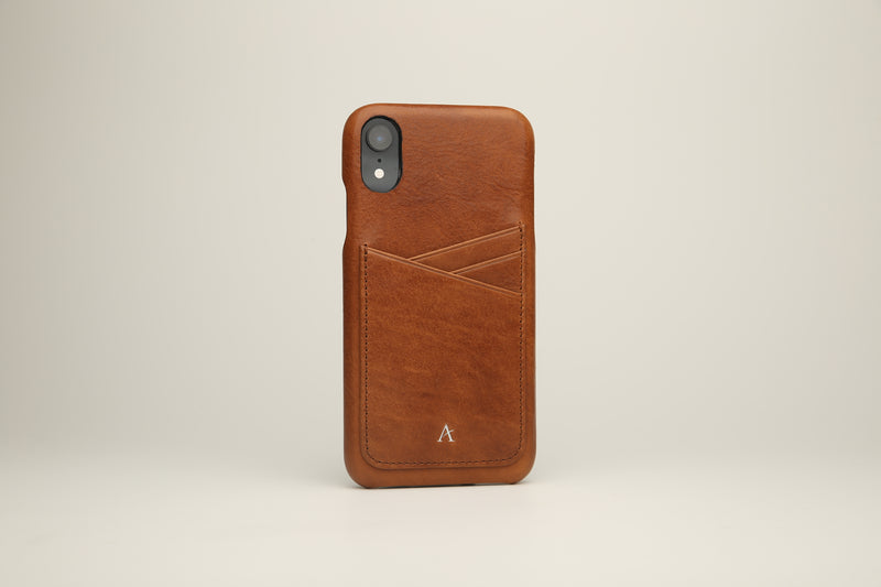 Leather Card Slot iPhone XR Case (Natural) - Affluent