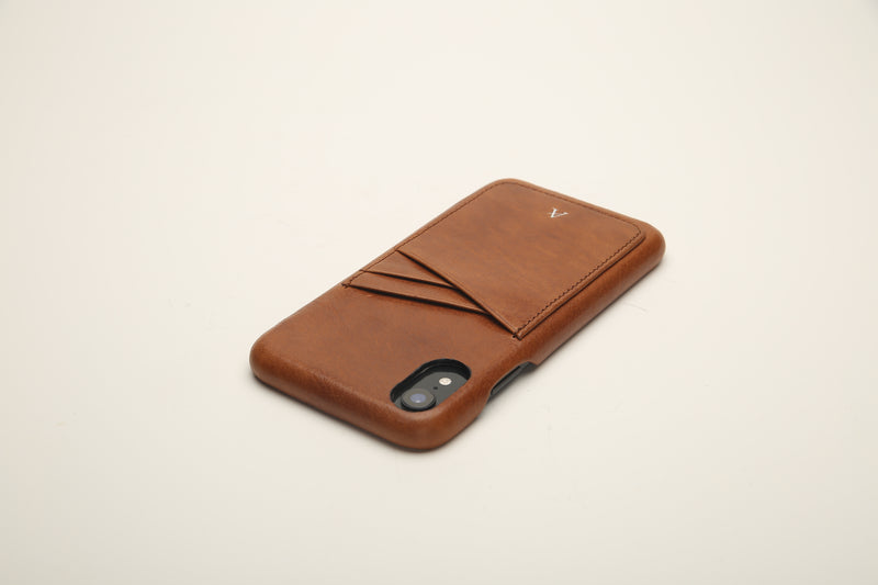Vegetable Tanned Leather Card Slot iPhone XR Cases
