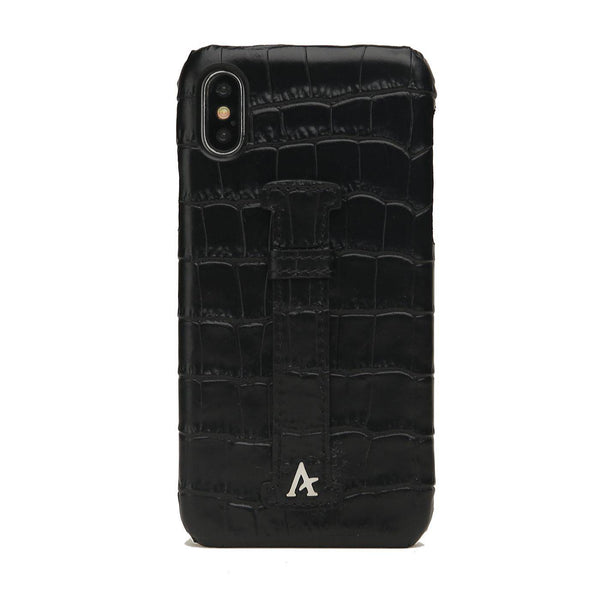 Leather Finger Loop iPhone Xs Max Case (Croc) - Affluent
