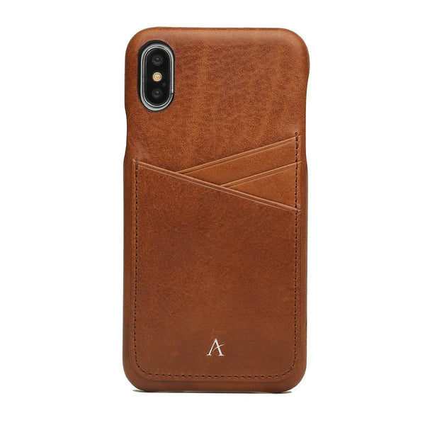 Leather Card Slot iPhone Xs Max Case (Natural) - Affluent