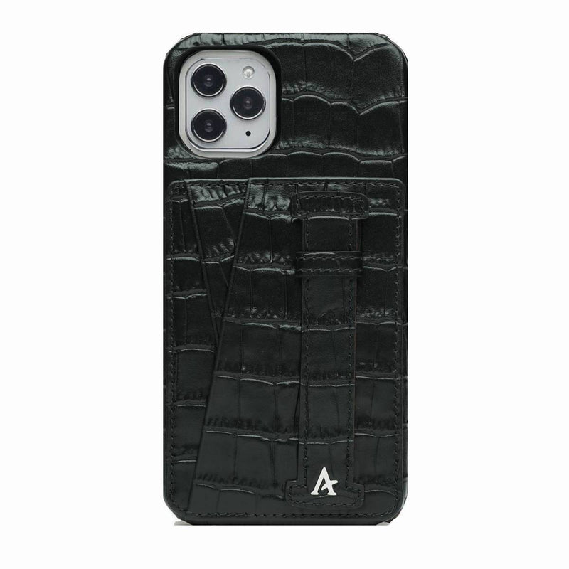 Leather iPhone 11 Pro Max Card Slot Finger Loop Case (Croc)