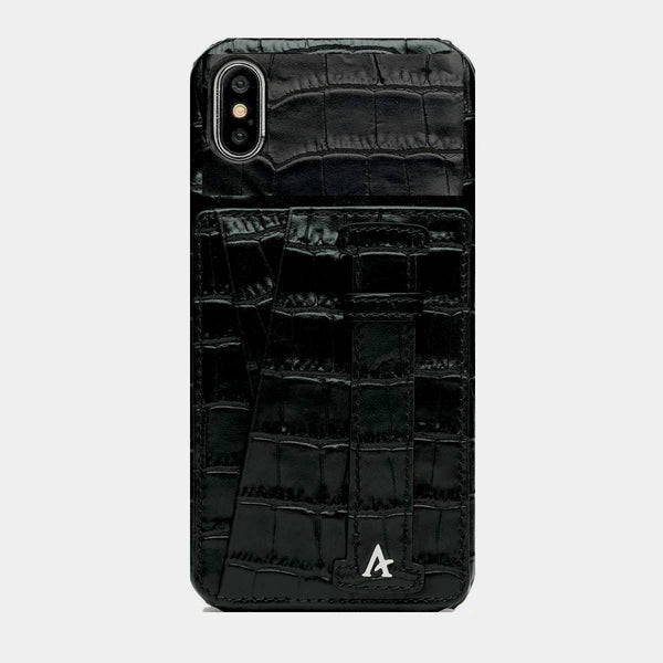 Leather iPhone XS Max Card Slot Finger Loop Case (Croc)