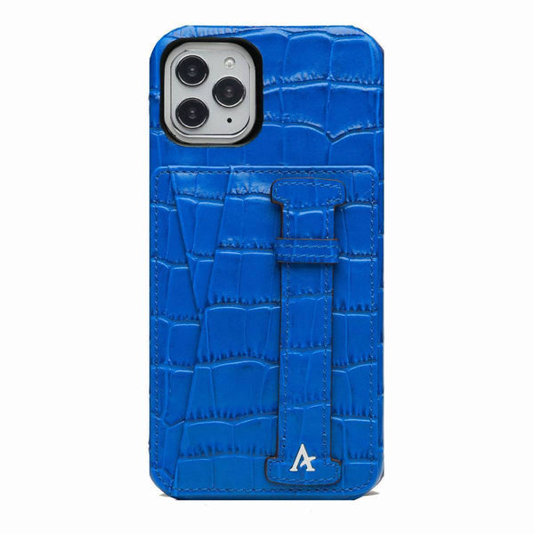 Leather iPhone 11 Pro Max Card Slot Finger Loop Case (Croc) - Affluent