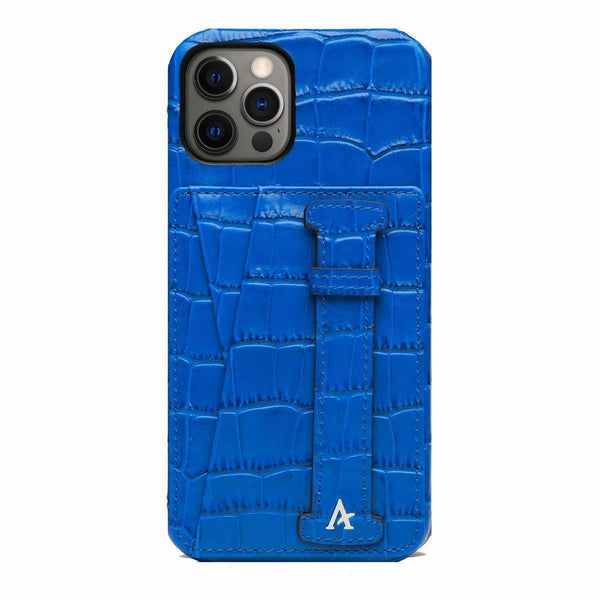 Leather iPhone 12/12 Pro Card Slot Finger Loop Case (Croc)