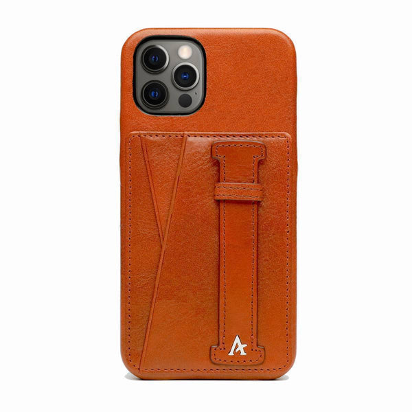 Leather iPhone 12 Pro Max Card Slot Finger Loop Case (Natural)