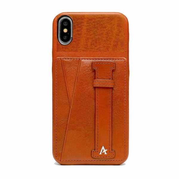 Leather iPhone X/Xs Card Slot Finger Loop Case (Natural)