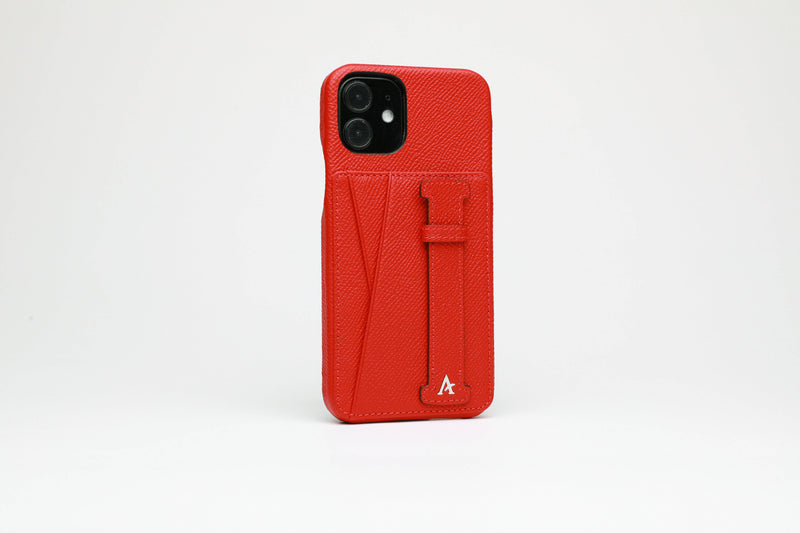 Leather iPhone 11 Pro Max Card Slot Finger Loop Case