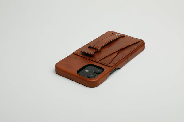 Leather iPhone 11 Pro Max Card Slot Finger Loop Case (Natural) - Affluent