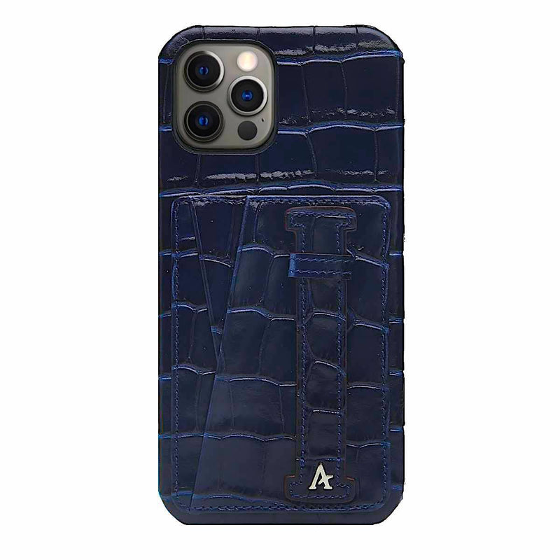 Leather iPhone 12 Pro Max Card Slot Finger Loop Case (Croc)
