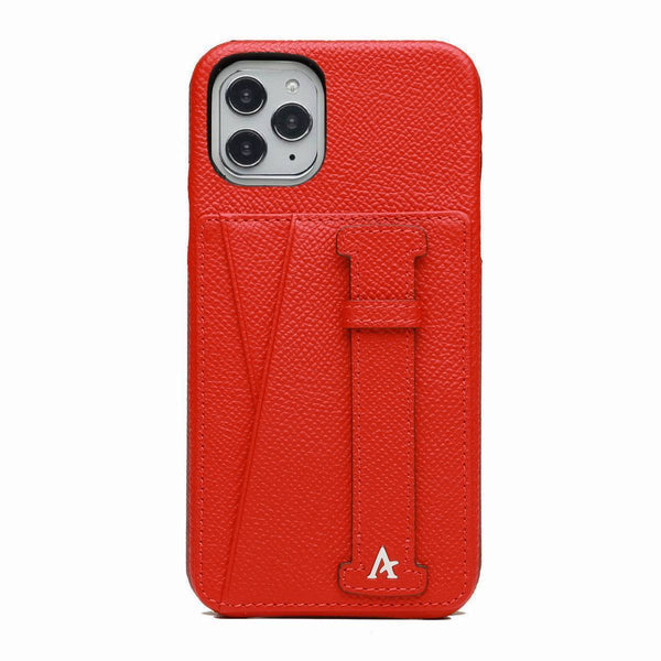 Leather iPhone 11 Pro Card Slot Finger Loop Case