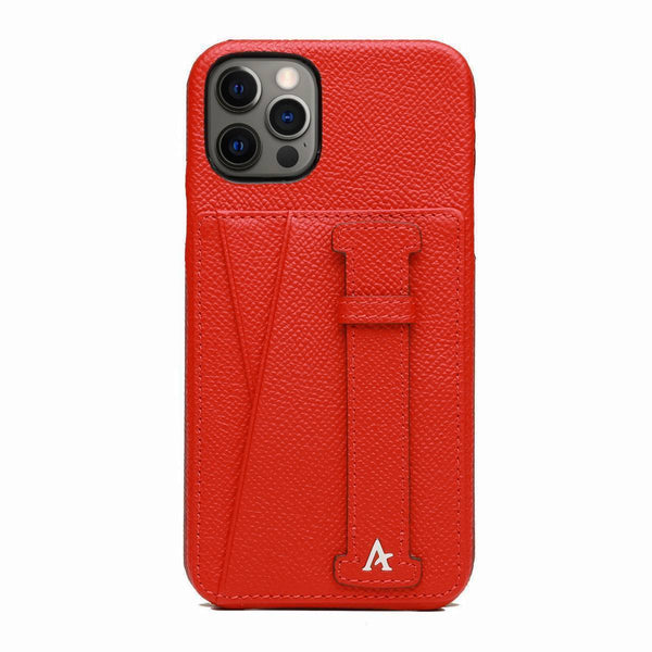 Leather iPhone 12 Pro Max Card Slot Finger Loop Case