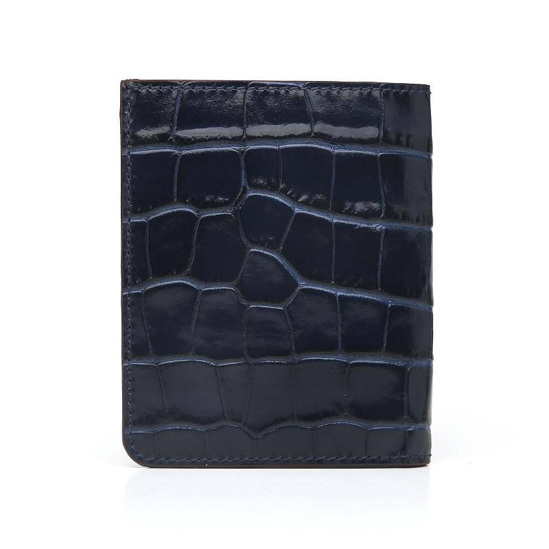 Leather Portfolio Bi-Fold Wallet (Croc)