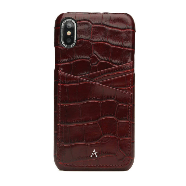 Leather Card Slot iPhone Xs Max Case (Croc) - Affluent